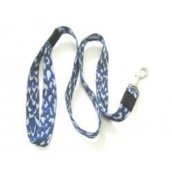 Smycz klasyczna 2,5 cm 1,0m niebiesko-szara