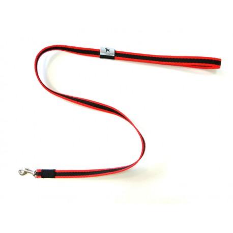 Smycz klasyczna 1,5 cm 1,0 m czarno-czerwona