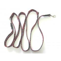 Smycz regulowana 2,5cm 2,0m czarno-czerwona